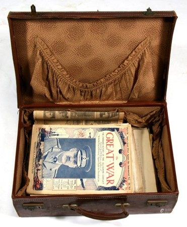 A suitcase containing the Great War magazine and other items.
