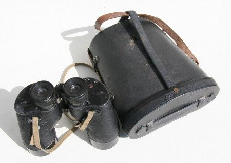 A pair of Canadian military binoculars, stamped 'CCB40MA 7x50', numbered '20144-C.