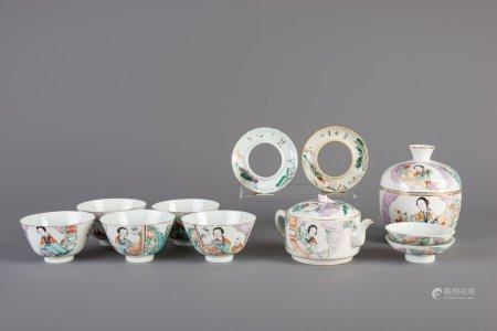A Chinese qianjiang cai eleven-part tea set, 19th/20th C.
