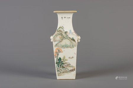 A square Chinese qianjiang cai vase, 19th/20th C.