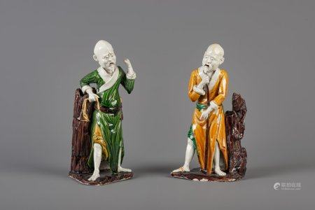 Two Chinese sancai glazed figures representing Shou Lao, 19th C.