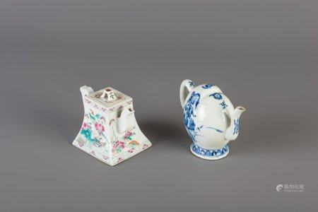 A Chinese peach shaped blue and white teapot and a quadrangular famille rose teapot and cover, 19th C.