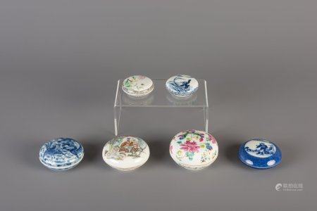 Six Chinese blue and white and famille rose seal paste boxes, 19th and 20th C.