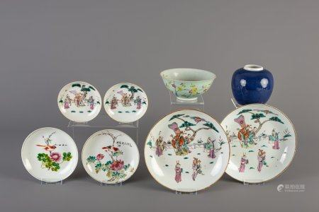 Six Chinese famille rose plates and saucers, a famille rose bowl and a blue monochrome vase, 19th/20th C.