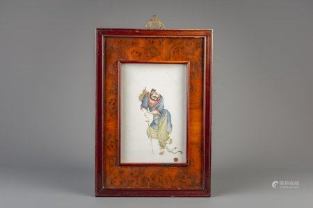A framed Chinese famille rose plaque with Li Tieguai, 19th/20th C.
