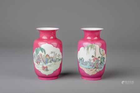 Two Chinese famille rose ruby ground vases, Yongzheng mark, 20th C.