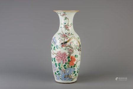 A Chinese famille rose vase with pheasants and floral design, 19th C.
