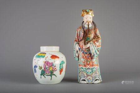 A Chinese famille rose figure of an immortal and a famille rose jar and cover, 19th C.