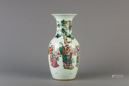 A Chinese famille rose vase with figures in a garden, 19th C.