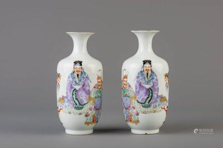 A pair of Chinese famille rose vases, Qianlong mark, Republic, 20th C.