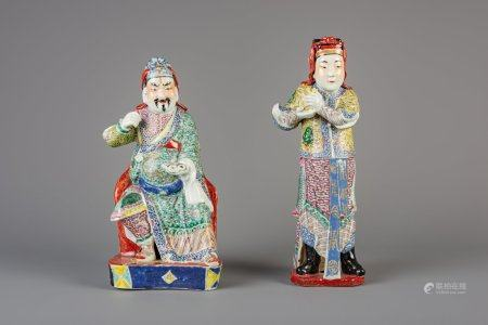 Two Chinese famille rose figures of dignitaries, 19th C.