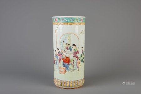 A cylindrical Chinese famille rose vase with ladies in a garden, Republic, 20th C.
