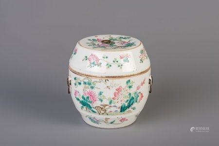 A Chinese famille rose jar and cover with floral design, 19th C.