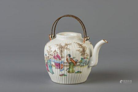 A Chinese famille rose teapot, 19th C.