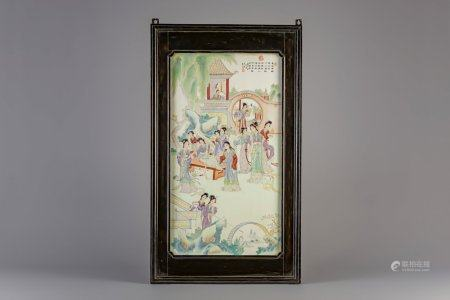 A large Chinese famille rose plaque with ladies in a garden, 20th C.
