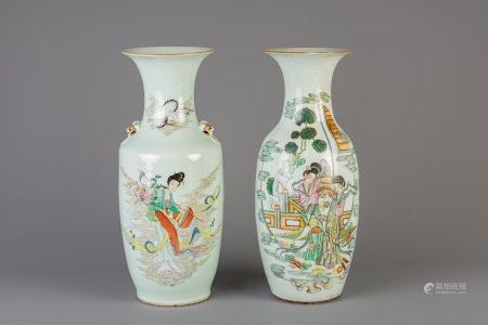 Two Chinese famille rose vases, 19th/20th C.