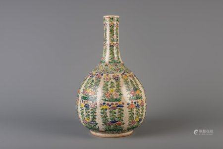 A Chinese Nanking famille rose crackle glazed vase with floral design, 19th C.