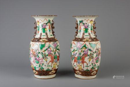 A pair of Chinese Nanking famille rose crackle glazed vases, 19th C.