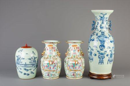 A pair of Chinese Canton famille rose vases and two blue and white celadon ground vases, 19th/20th C.