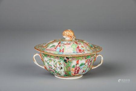 A Chinese Canton famille rose tureen, 19th C.