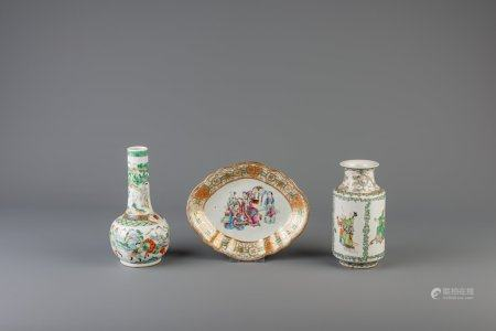 Two Chinese Canton famille verte vases and a lobed famille rose plate, 19th C.