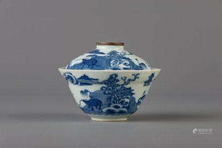A Chinese blue and white 'Bleu de Hue' bowl and cover with a classical landscape for the Vietnamese market, Shunli Kunji mark, about 1900