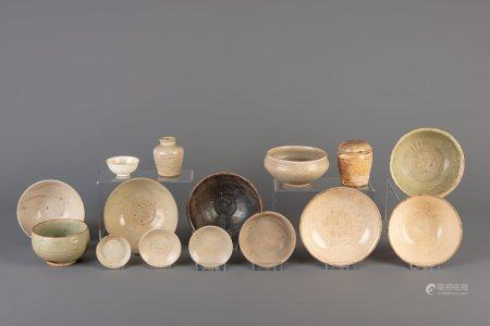 A large collection Vietnamese monochrome glazed bowls, saucers, etc., some with underglaze design, Thanh Hoa, 9th/10th C. and later