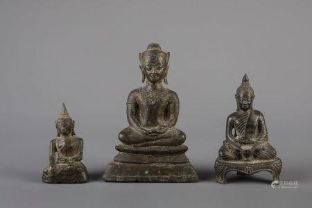 Three bronze figures of Buddha, Southeast Asia, 19th C.