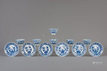 Six Chinese blue and white cups and saucers with floral design, 19th C.