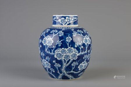 A Chinese blue and white covered ginger jar with prunus on cracked ice, 19th C.