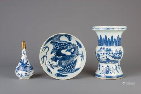 A Chinese blue and white zun vase, a  brass mounted bottle vase and a dish, 18th/19th C.