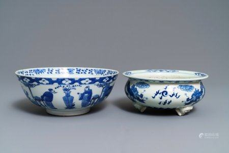 A Chinese blue and white bowl and a 'dragon' incense burner, 19th C.
