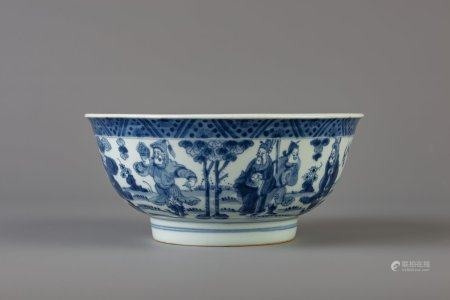 A Chinese blue and white bowl with figurative design all around and a dragon inside, 19th C.