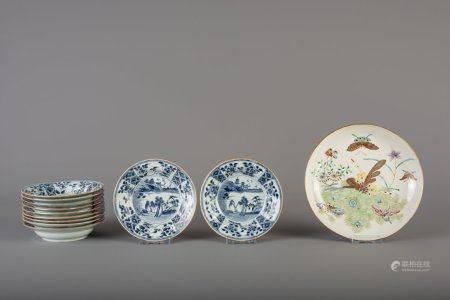A Chinese famille rose 'butterflies' plate and eleven blue and white dishes, Qianlong and 19th C.