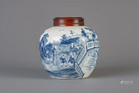 A Chinese blue and white ginger jar with figures in a landscape and a wooden cover, 19th/20th C.