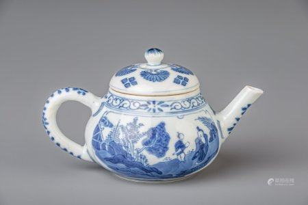 A Chinese blue and white teapot and cover with figures in a landscape and flowers, Kangxi