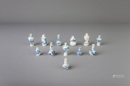 Twelve Chinese blue and white doll's house miniature vases, Kangxi and later