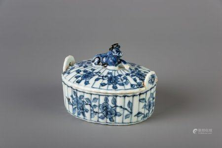 A Chinese blue and white butter tub after a Dutch Delft example, Qianlong