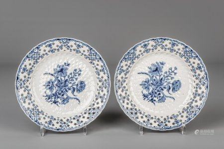 A pair of Chinese blue and white open worked Worcester style dishes, Qianlong