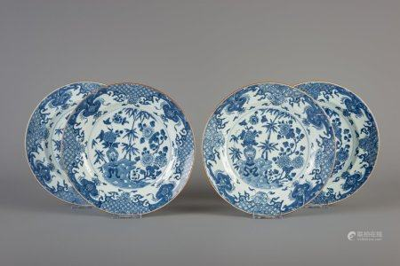 Four Chinese blue and white plates with floral design, Yongzheng/Qianlong