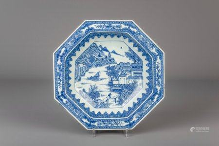 A Chinese octagonal blue and white 'landscape' bowl, Qianlong
