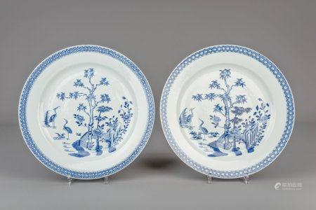 Two Chinese blue and white chargers with cranes, Qianlong