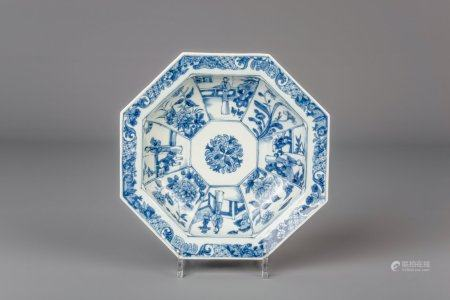 A Chinese octagonal blue and white bowl, Qianlong