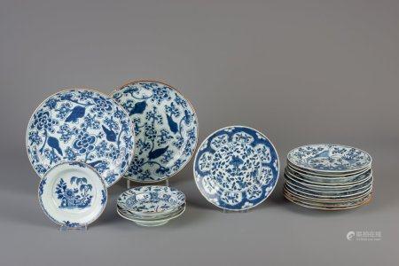 Eighteen Chinese blue and white plates, Kangxi/Qianlong