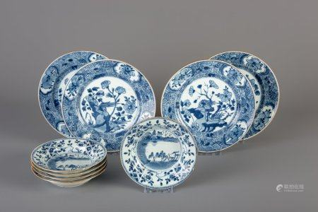 Nine Chinese blue and white dishes with floral design, Kangxi/Qianlong