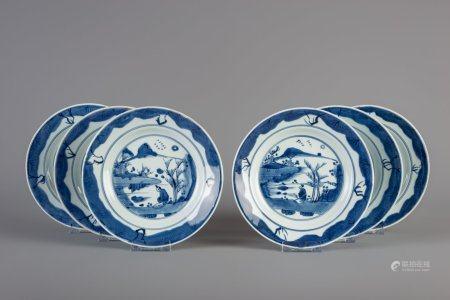 Six Chinese blue and white dishes, Kangxi