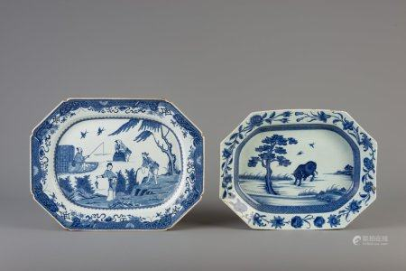 Two Chinese octagonal blue and white trays, Qianlong