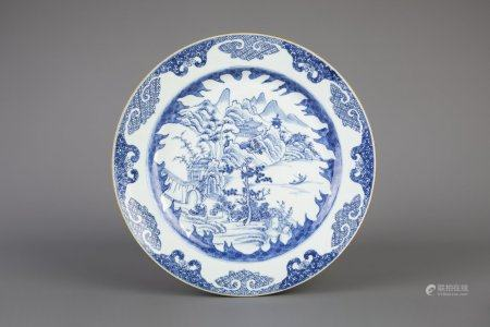 A Chinese blue and white 'Master of the Rock' dish, Kangxi