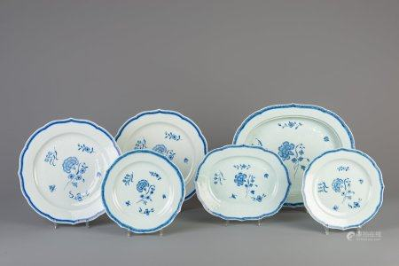 A Chinese blue and white six-piece part service with floral design, Qianlong