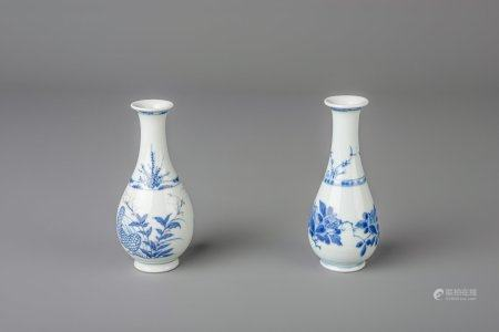 Two Chinese blue and white and underglaze red vases, Kangxi